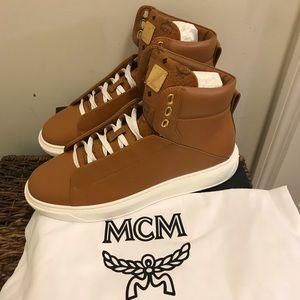 NEW MCM Brown Viestos Trim Leather Hi Top Sneaker
